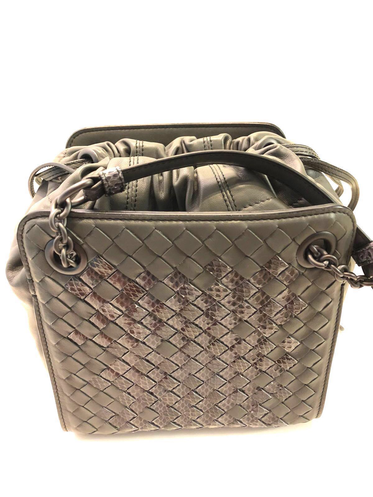 dbc77e19d7a Bottega Veneta Intrecciato Woven Nappa and Exotic Ayers Leather Mini ...