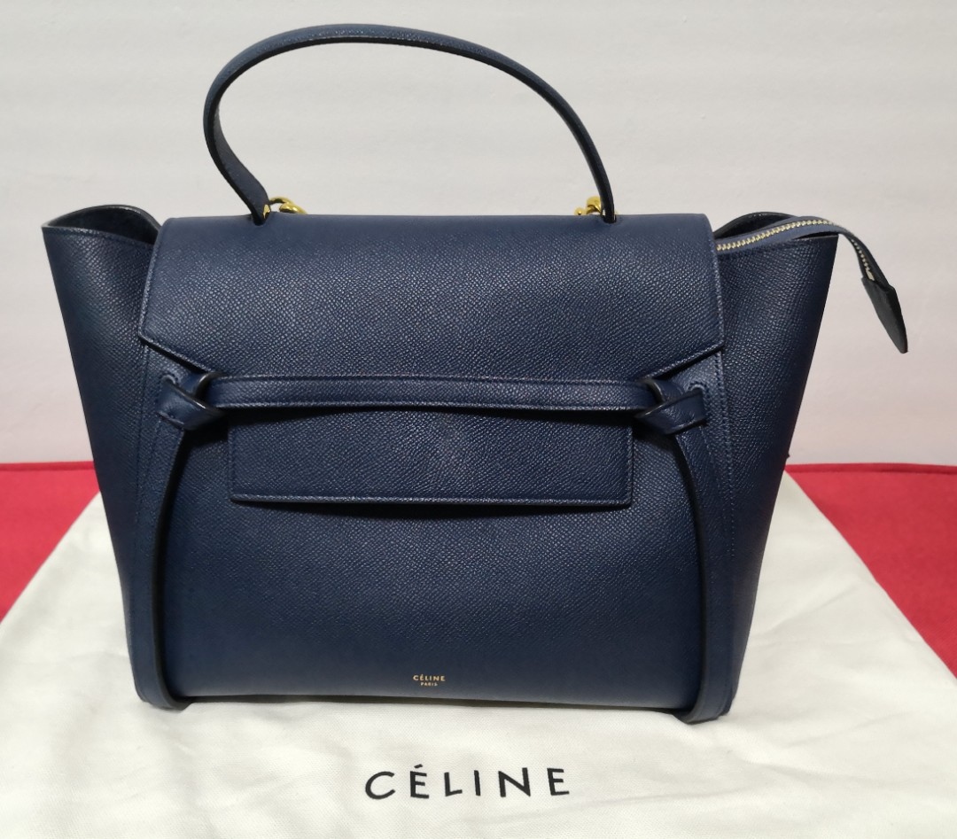 62eeb42072 Celine Mini Belt Bag In Sands (Navy Blue)