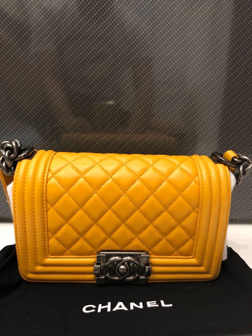 42b895e9fe80 Chanel Boy Small Lambskin Amber Yellow, Women's Fashion, Bags ...