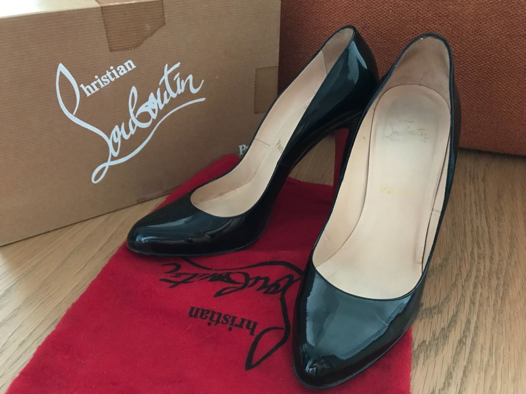 9cf543a48e9ba Christian Louboutin Heels Pigalle Simple Black Patent Leather Pumps ...