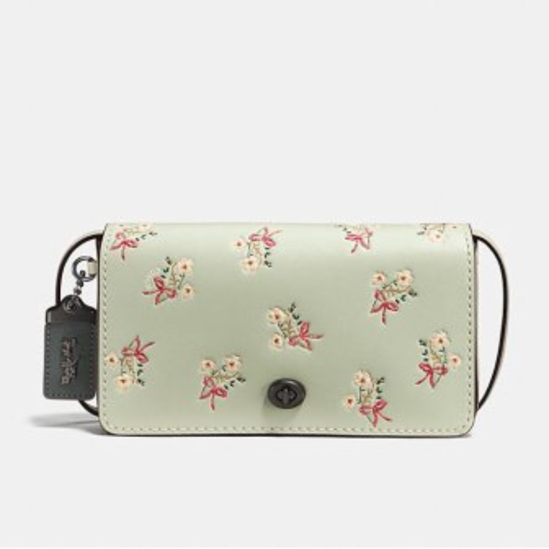 239d945b916 Coach Dinky With Floral Bow Print in Pale Green, Women's Fashion ...
