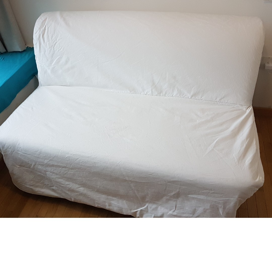 Ikea Lycksele Lovas Sofa Bed W Mattress And White Cover Furniture