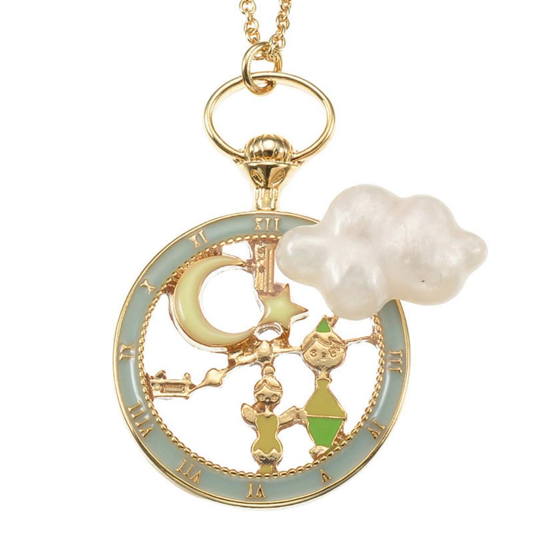 Disney Motif Vintage Silver Tone Tinkerbell Pendant Necklace