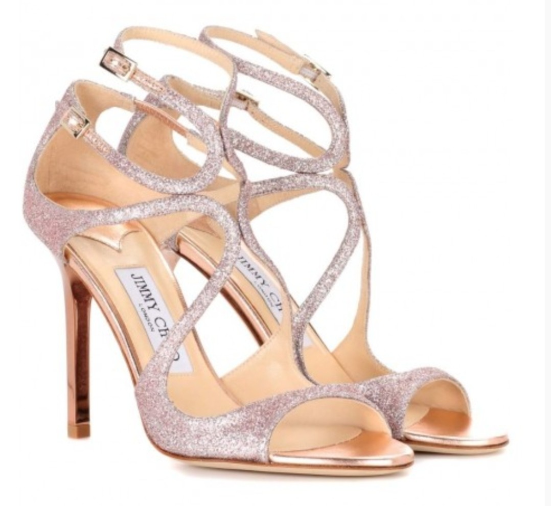 17fbbd5d74a7 Jimmy Choo Lang Sandals Tea Rose Fine Glitter (S38)