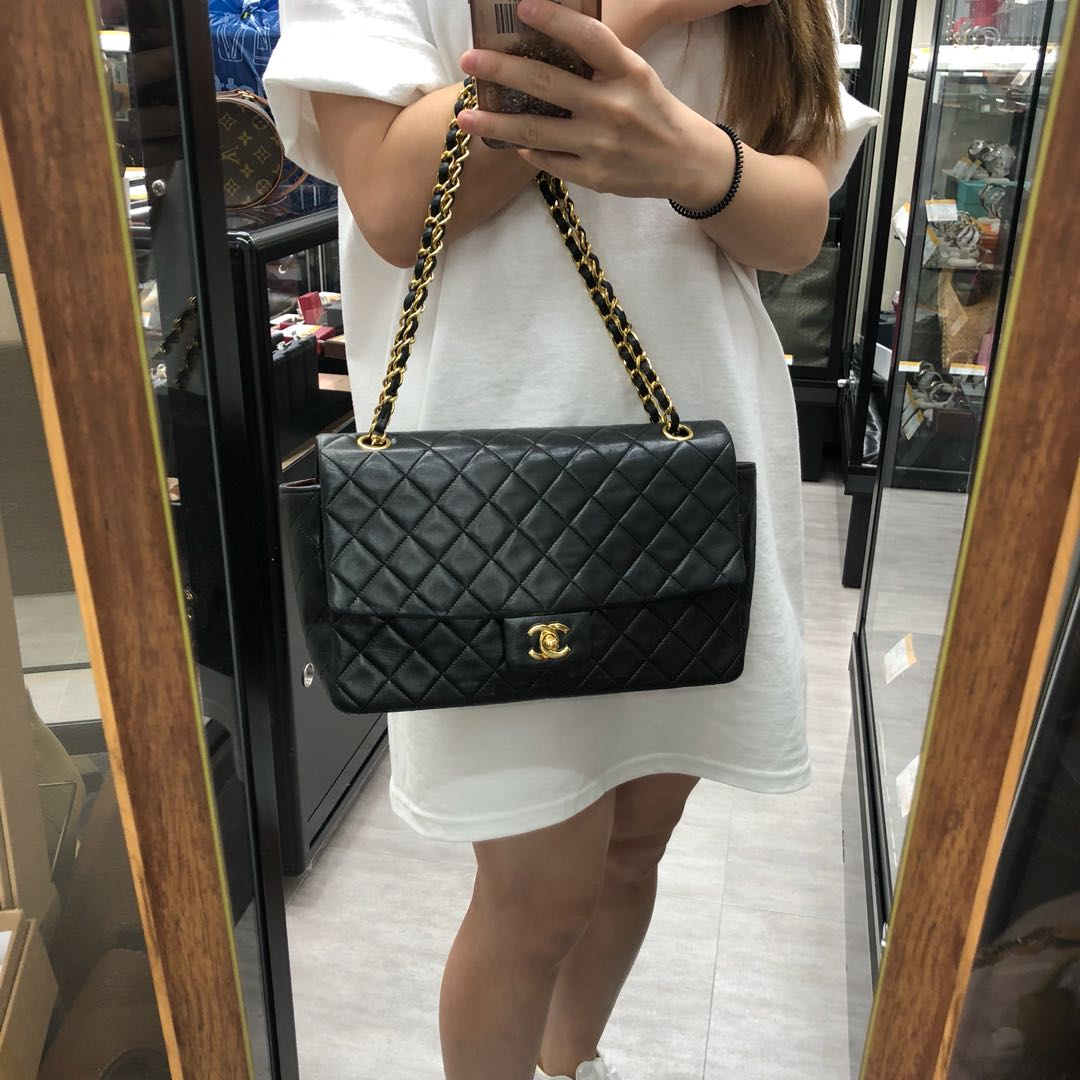 125b74ecfba969 NOW IN JAPAN: Authentic Chanel Lambskin Bigger than Medium Flap Bag ...