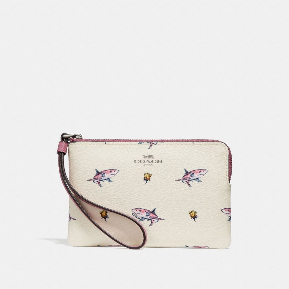 8ae4a81ad80e85 PO) Limited Edition Coach Wristlet with Shark Print Corner Zip ...