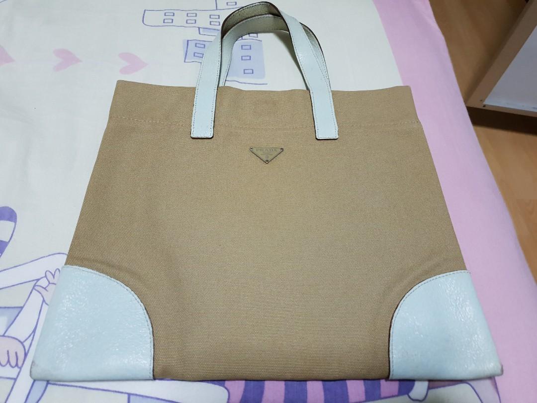 Prada canvas tote bag adfff1e227351