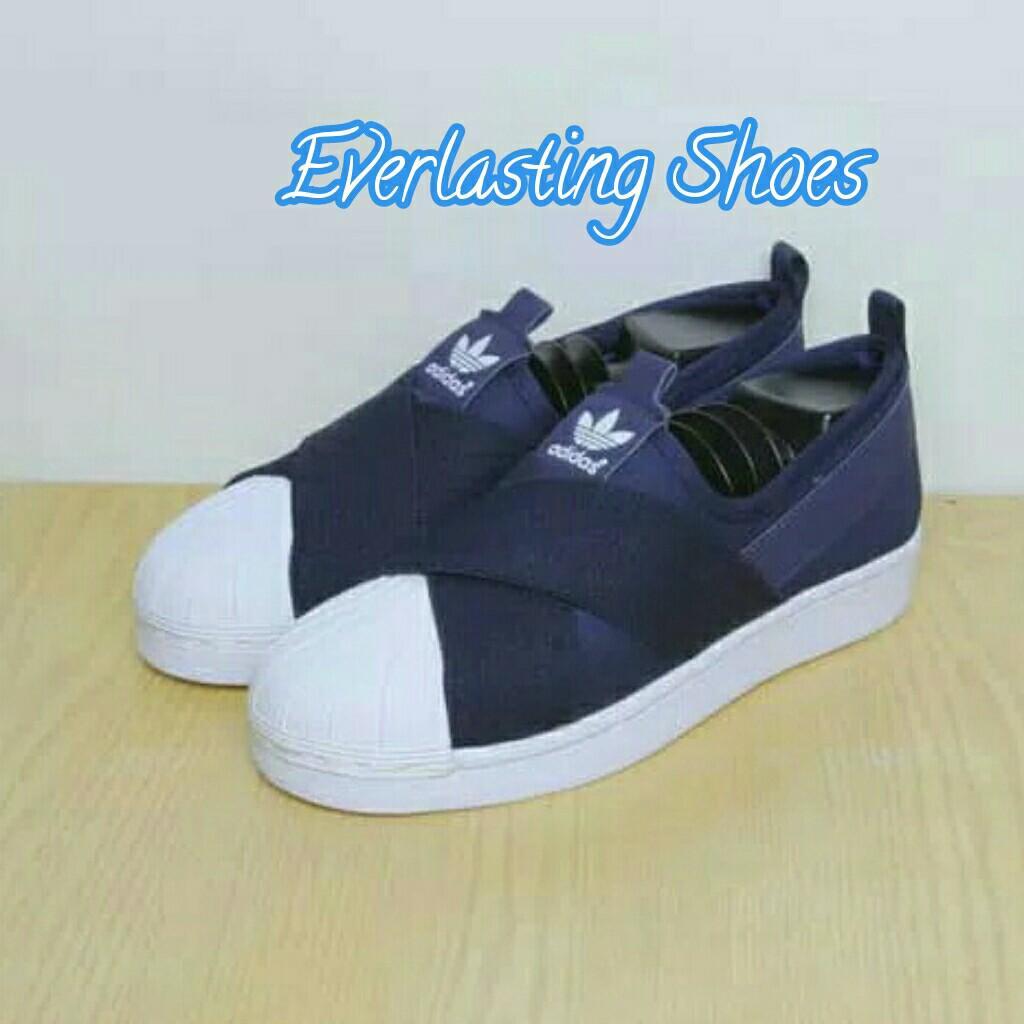 Sepatu Adidas Superstar Slip-on Slipon Navy Dongker Premium Quality Sneakers Import Sneaker Shoes Grade Original Ori