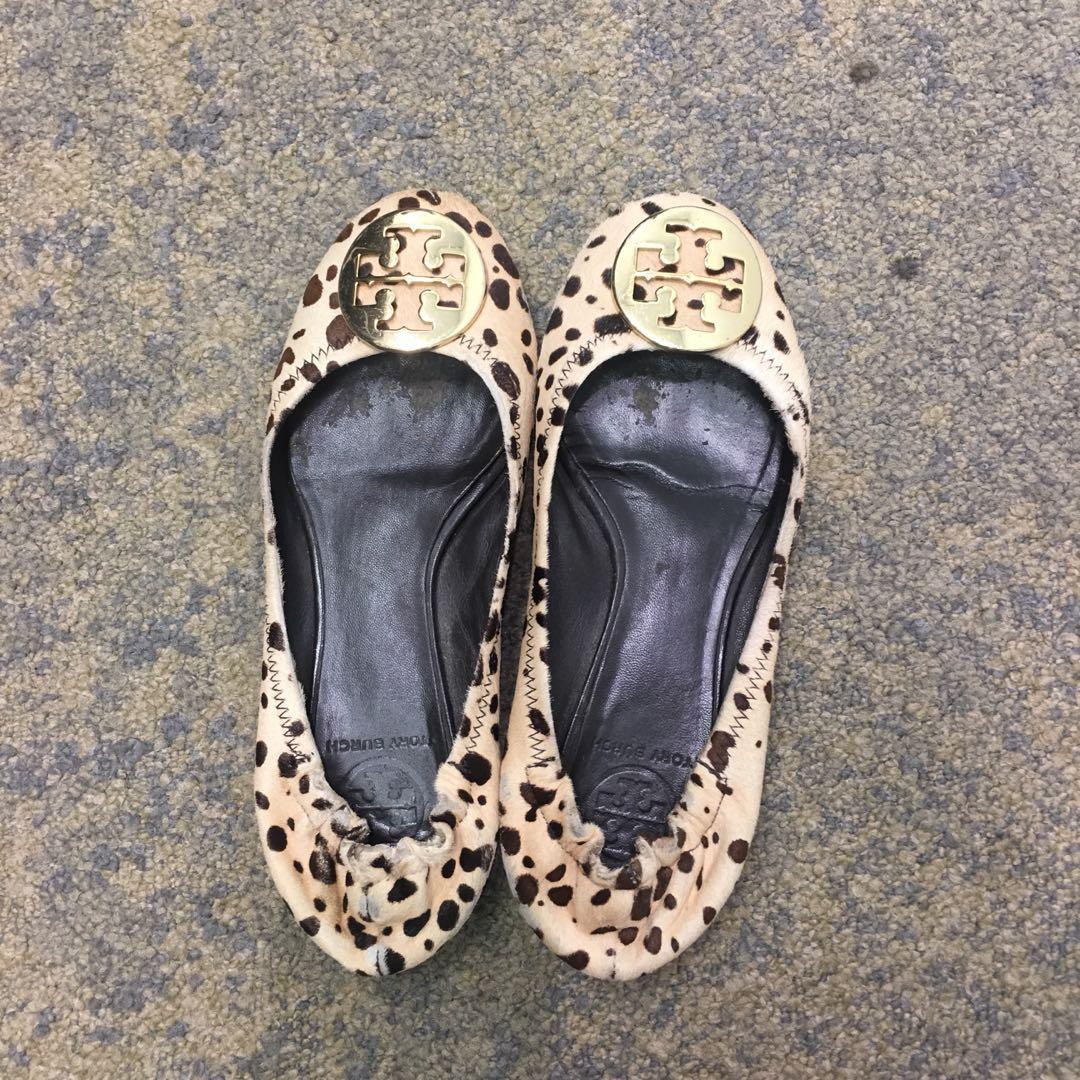 3f6b786b8377 Tory Burch Leopard Print Calf Hair REVA Ballet Flats Size 7