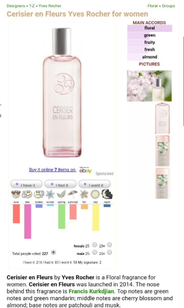 Yves Rocher Cerisier En Fleurs Cherry Blossom Edt 100ml Health
