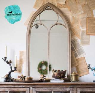 Chapel Gothic Style Garden Rustic Mirror