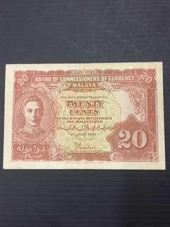 Malaya KG 50 Cents Year 1941
