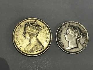 1901年 關門幣 伍仙 一毫 兩枚