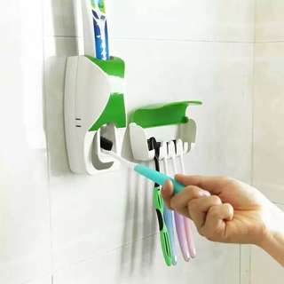 2 in 1 Toothpaste Dispenser & Toothbrush Holder