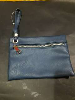 Genuine Leather blue pouch
