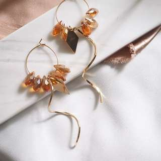 Crystal hoop drop earrings 耳環