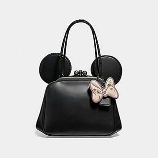 KISSLOCK BAG WITH MINNIE MOUSE EARS COACH F29349 ANTIQUE NICKEL/BLACK