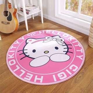 🚚 圓形兒童臥室床邊地墊簡歐現代卡通地毯吊籃電腦椅墊子可機洗