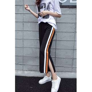 Seven Points Side Slits Loose Casual Sports School Pants