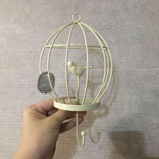 Bird cage wall hook decor