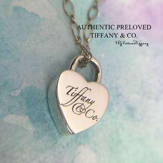 3e99720a9 Authentic Excellent Tiffany & Co Notes Heart Padlock Lock Silver Link  Necklace