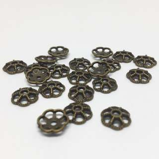 Antique Bronze Brass Ox Filigree Bead Cap 7mm 20pcs Jewellery Jewelry Findings Craft Supplies Accessories
