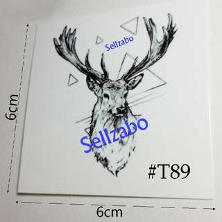 #T89 Fake Temporary Body Tattoo Stickers Washable Wash Off Print Sellzabo Black Colour Patterns Designs Tatoo Tatto Tattoo Deer Animals Accessories