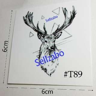 #T89 Fake Temporary Body Tattoo Stickers Washable Wash Off Print Sellzabo Black Colour Patterns Designs Tatoo Tatto Tattoo Deer Animals Accessories