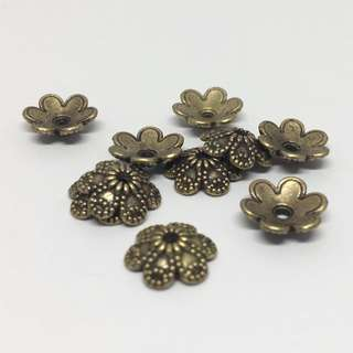 Antique Bronze Brass Ox Floral Flower Bead Cap 8mm 10pcs Jewellery Jewelry Findings Craft Supplies Accessories