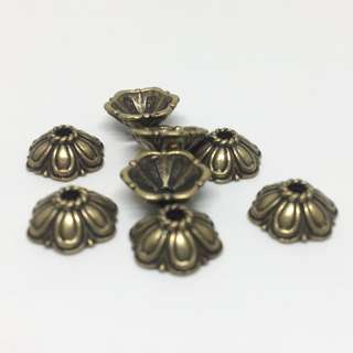Antique Bronze Brass Ox Floral Flower Bead Cap 8mm 8pcs Jewellery Jewelry Findings Craft Supplies Accessories