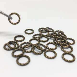 Antique Bronze Brass Ox Twisted Closed Ring Spacer Bead 8mm 30pcs Jewellery Jewelry Findings Craft Supplies Accessories