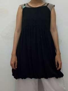 Baby doll dress hitam wanita