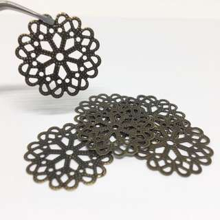 Antique Bronze Brass Ox Floral Lace Filigree 20mm 6pcs Jewellery Jewelry Findings Craft Supplies Accessories