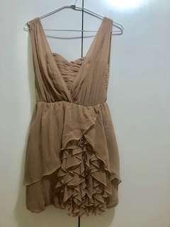 日本帶回 H&M 小禮服系列 粉藕色 裸色 兩穿式 花苞 荷葉 馬甲 春夏女神系小禮服