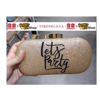Japan Quality - Tas Pesta Dompet Pesta Gold Lets Party Miniso Import