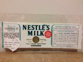 Mid Century Nestle condensed milk label with recipes