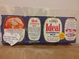Mid Century Nestle evaporated milk label with recipes