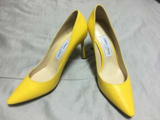 🚚 Jimmy choo 檸檬黃高跟鞋 38 1/2