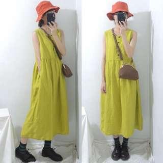 。error dot。日本青檸黃亞麻洋裝
