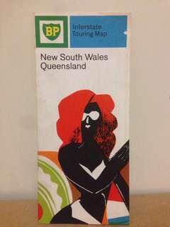 Vintage BP Interstate Tourist Map NSW QLD
