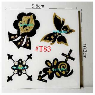 #T83 Fake Temporary Body Tattoo Stickers Washable Wash Off Print Sellzabo Black Golden Colour Patterns Designs Tatoo Tatto Tattoo Butterfly Butterflies Accessories
