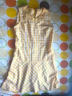 Bright yellow vintage mini dress size medium