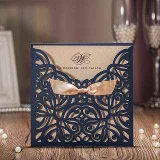 LACED BOWKNOT ELEGANT CLASSY WEDDING INVITATION CARD