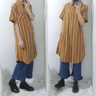 。error dot。日本芥黃直條紋棉麻襯衫