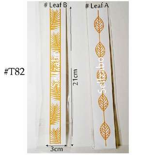 #T82 Fake Temporary Body Tattoo Stickers Washable Wash Off Print Sellzabo Golden Colour Patterns Designs Tatoo Tatto Tattoo Leaf Leaves Strips Accessories