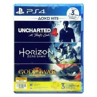 NO SHIPPING FEE! PS4 Uncharted4+Horizon Zero Dawn (Used)