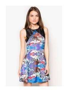Leather Combination Floral Dress