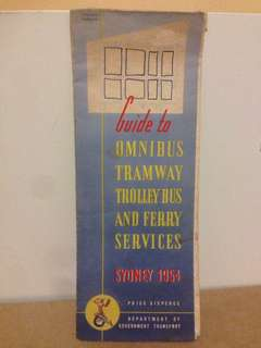 1954 Sydney Guide To omnibus, tramway Reilly bus and ferry services