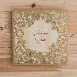 GOLD FLORA VINTAGE FANCY WEDDING ENGAGEMENT INVITATION CARDS