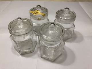 Empty glass small containers x 4 nos